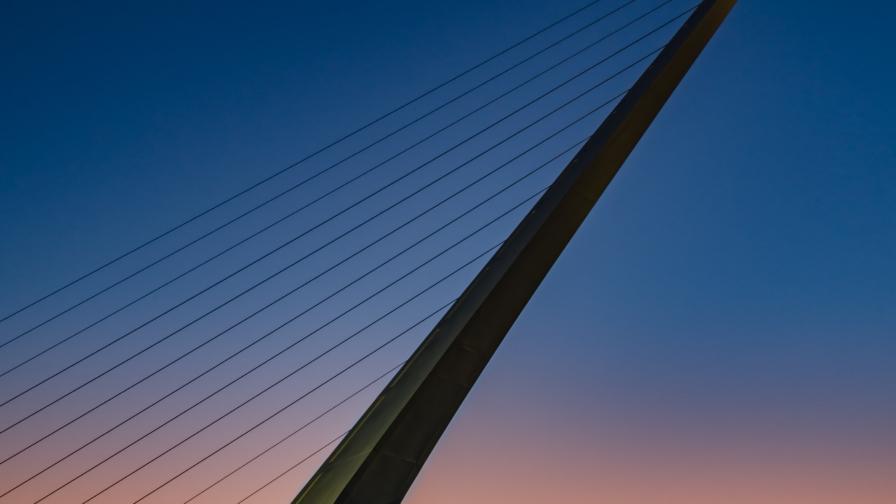 Sunset view of Redding's Sumdial Bridge